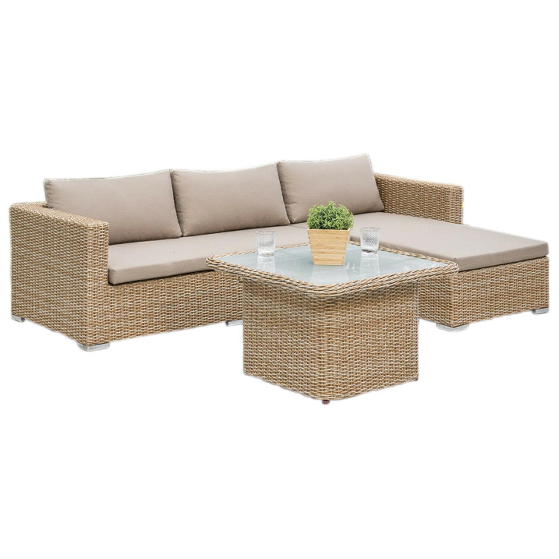 Lounge Set Veneto Stahl Polyrattan Natur Mit Kissentruhe Und Verstelltisch