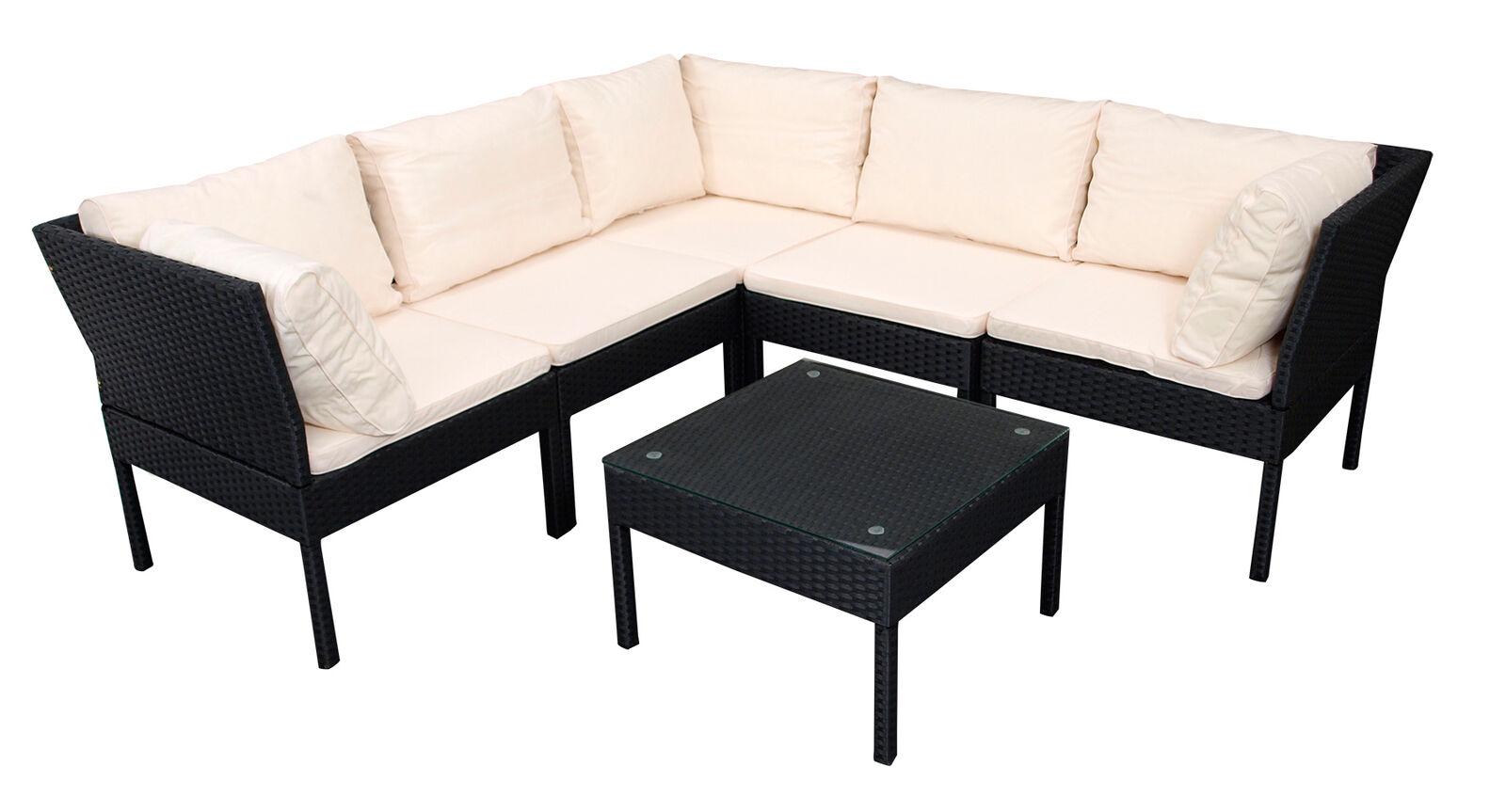 Lounge Set Schwarz Creme